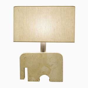 Italian Travertine and Marble Elephant Table Lamp by Fratelli Manelli for Signa, 1970s