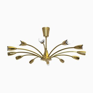 Austrian Brass Spider Flush Mount, 1950s