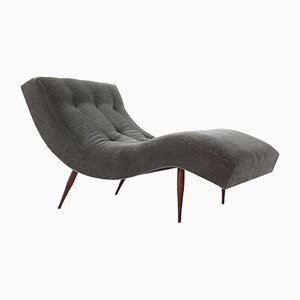 Gray Mohair Wave Chaise Lounge by Adrian Pearsall, 1960s