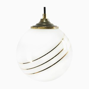 Mid-Century Opaline Glass and Brass Pendant Lamp