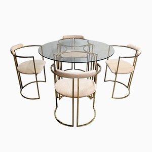 Juego de mesa de comedor y sillas vintage de latón de Belgochrom, años 70