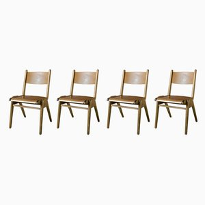 Wooden Bistro Chairs, 1960s, Set of 4
