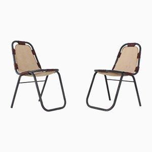 Beistellstühle aus Leinen & Leder, 1960er, 2er Set