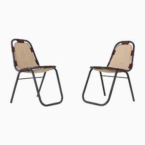 Canvas and Leather Side Chairs, 1960s, Set of 2