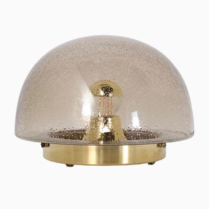Smoked Bubble Glass and Brass Mushroom Domed Table Lamp from Doria Leuchten, 1970s