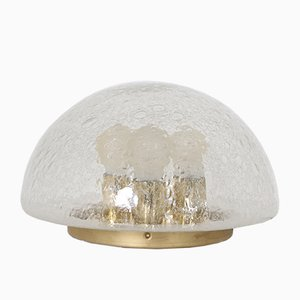Bubble Glass and Brass Mushroom Domed Table Lamp from Doria Leuchten, 1970s