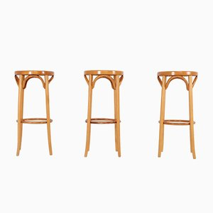 Curved Lacquered Beech Bar Stools, 1970s, Set of 3