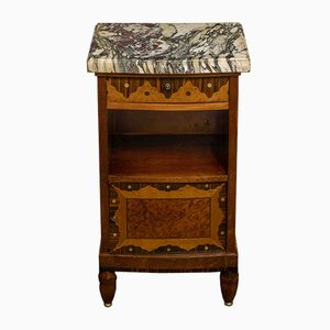 French Inlaid Wood and Marble Nightstand, 1950s