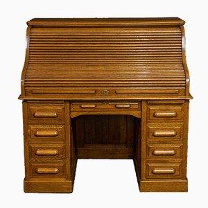 Antiker edwardianischer Schreibtisch aus Eiche mit Rolltür