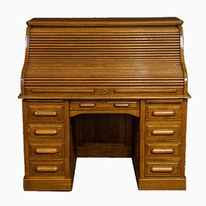 Antique Edwardian Oak Roll Top Desk