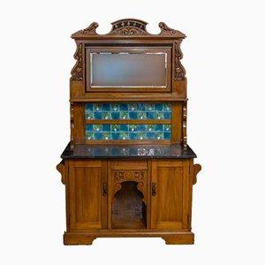 Antiker spätviktorianischer Nachttisch aus Nussholz