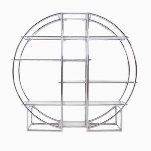 Unità di mensole Bauhaus in metallo cromato, anni '80