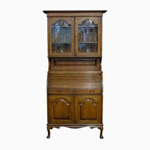 Antique Edwardian Oak Roll Top Bookcase