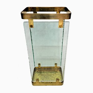 Glass & Brass Umbrella Stand by Max Ingrand for Fontana Arte, 1960s