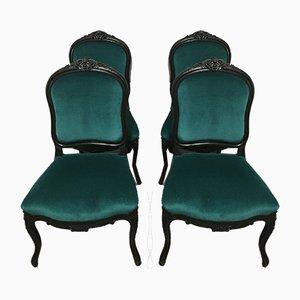 Antike Napoleon III Esszimmerstühle mit Samtbezug, 4er Set