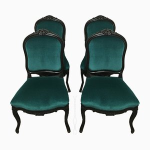 Antique Napoleon III Velvet Dining Chairs, Set of 4