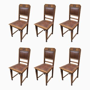 Art Deco French Dining Chairs, 1930s, Set of 6