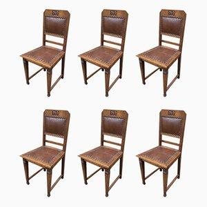 Französische Art Déco Esszimmerstühle, 1930er, 6er Set