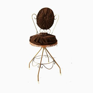 Chaise Vanity en Velours Marron Chocolat, années 60