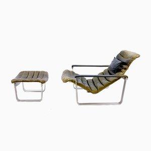 Mid-Century Modell Pulka Sessel & Fußhocker Set von Ilmari Lappalainen für Asko, 1960er