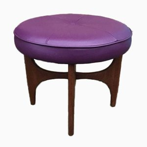 Danish Teak and Purple Leather Ottoman by Ib Kofod Larsen for G-Plan, 1960s