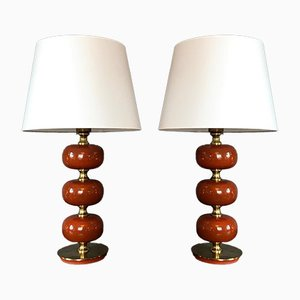Model Carmen Table Lamps by Henrik Blomquist for Tranås Stilarmatur, 1970s, Set of 2