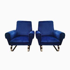 Blaue italienische Vintage Samtsessel, 2er Set