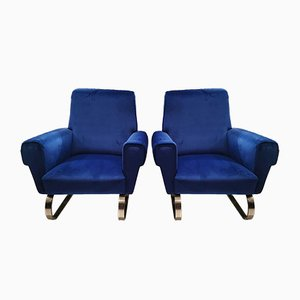 Vintage Italian Blue Velvet Armchairs, Set of 2