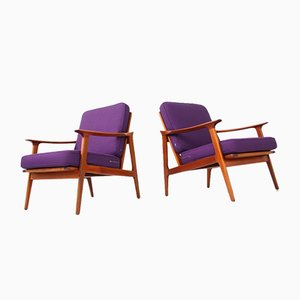 Sessel mit Gestell aus Teak, 1960er, 2er Set