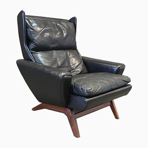 Mid-Century Scandinavian Rosewood and Black Leather Lounge Chair, 1950s
