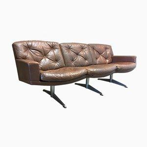 Sofá de tres plazas vintage de cuero y cromo, años 50