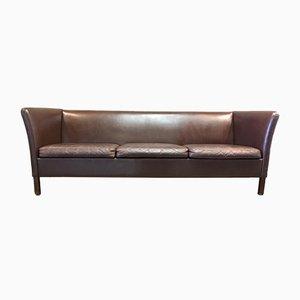 Sofá de tres plazas escandinavo vintage de cuero marrón, años 50