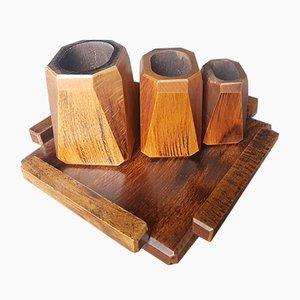 Set de Vases et Plateau en Bois, années 30