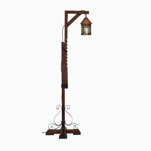 Oak, Copper & Stained Glass Floor Lamp, 1920s
