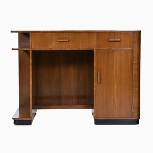 Art Deco Walnut & Leather Desk, 1930s