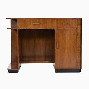 Art Deco Walnut & Leather Desk, 1930s