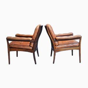 Ledersessel mit Holzgestell von Göte Möbler, 1960er, 2er Set