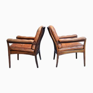 Wood and leather Armchairs from Göte Möbler, 1960s, Set of 2
