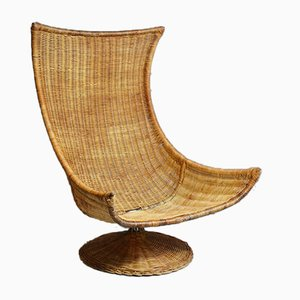 Rattan Swivel Lounge Chair by Gerard van den Berg for Montis, 1970s