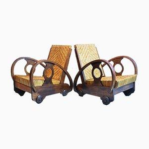 Niederländische Mid-Century Armlehnstühle aus Teak & Rattan, 1950er, 2er Set