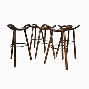 Mid-Century Swedish Bar Stools, 1950s, Set of 5