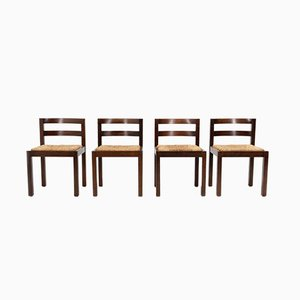 Brutalist Rattan Dining Chairs, 1972, Set of 4