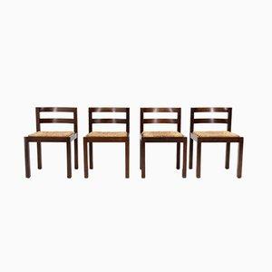 Brutalistische Esszimmerstühle aus Rattan, 1972, 4er Set
