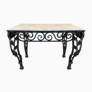 Mid-Century Wrought Iron & Marble Coffee Table