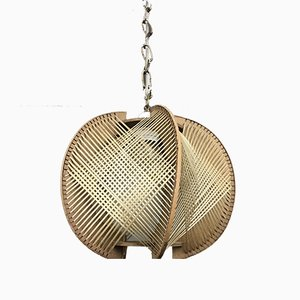 Wood & Wire Pendant Lamp, 1960s