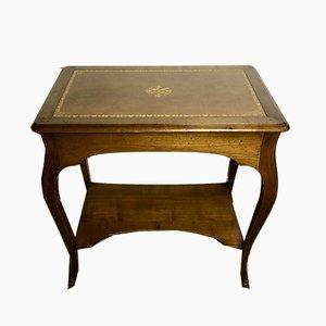 Schreibtisch aus Nussholz mit Lederauflage, 1980er