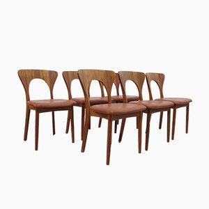 Mid-Century Modell Peter Esszimmerstühle aus Teak von Koefoeds Hornslet, 6er Set