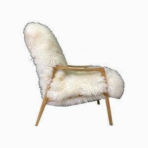 Poltrona Art Deco vintage in pelle di pecora bianca