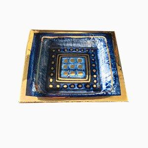 Cuenco decorativo francés Mid-Century en azul de Georges Pelletier para Pelletier