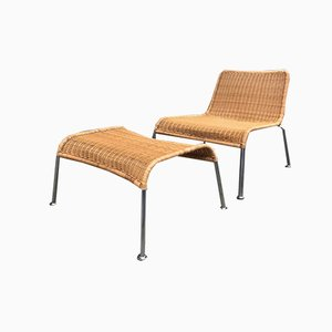 Vintage Scandinavian Rattan and Chromed Steel Lounge Chair and Ottoman Set, 1970s